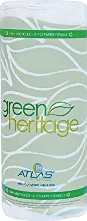 """Green Heritage 585 Kitchen Paper Towel Roll, 2-Ply, 9"""" Width x 11"""" Length, White (Pack of 30)"""