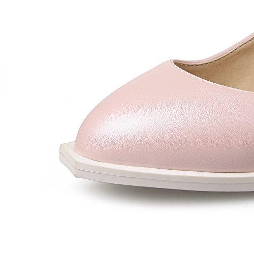 Amoonyfashion Damesschoenen Zacht Materiaal Gesp Puntig Gesloten Neusje-hakken Stevige Pumps-schoenen Roze