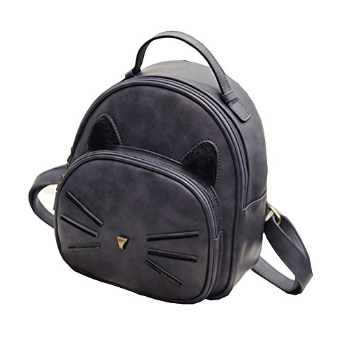 Pattern Cat Gray Cartoon School FinancePlan Women's Handbag Faux Travel Bag Leather Backpack twgxUWxE1q