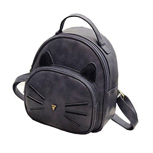 Pattern Cat Gray Cartoon School FinancePlan Women's Handbag Faux Travel Bag Leather Backpack twgxUWxE1q