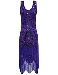 Womens 1920s Vintage Flapper Fringe Beaded Great Gatsby Party Dress