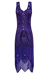 Metme Women's 1920s Vintage Flapper Fringe Beaded Great Gatsby Party Dress (S, Violet)