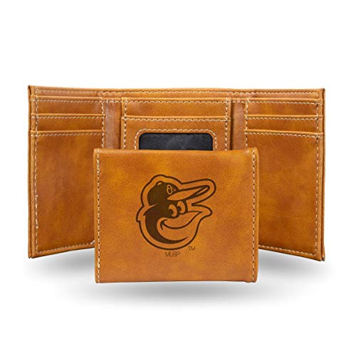 Rico Baltimore Orioles MLB Laser Engraved Brown Trifold Wallet ()