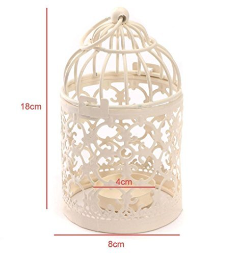 Homegoal Bird Cage Metal Hollow Out Decorative Birdcage Iron Candle Holder Candlestick Hanging Lantern (White)