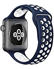 Soft Silicone Replacement Strap Sport Band Strap For Apple Watch 38mm Blue and White