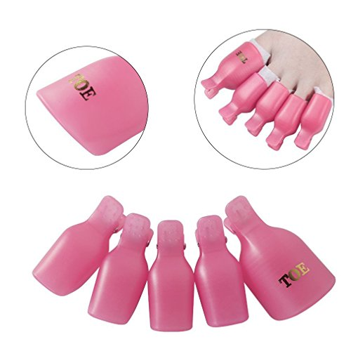 CLAVUZ Soak Off Clips Caps Toenail UV Gel Polish Remover Wraps Clamp Plastic Acrylic Nail Art Pedicure Tools 5PCS Pink (Halloween Pedicure Art)