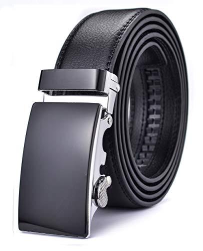 Xhtang Men's Ratchet Belt Automatic Buckle Simple style Leather black belt