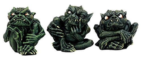 Ky & Co YesKela Toad Troll Gargoyle Figurine Set of 3 Small Guilty Shy Sinister Devils Statue