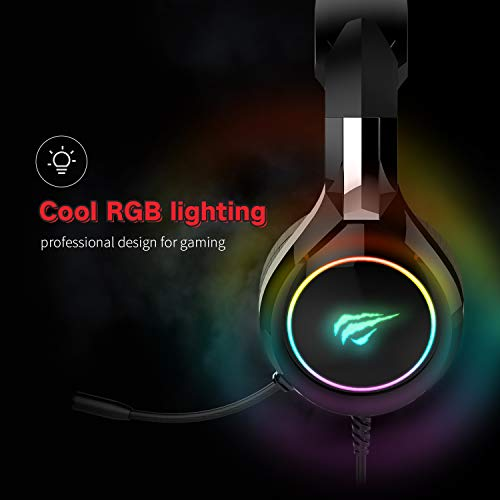 havit RGB Wired Gaming Headset PC USB 3.5mm XBOX PS4 Headsets with 50MM Driver, Surround Sound & Microphone, XBOX One Gaming Overear Headphones for