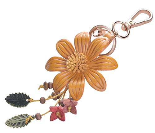Girl's Leather Flower Fashion Keychain Gold Plated Bag Charm Cute Car Key Ring Crystal Purse Pendant #51617
