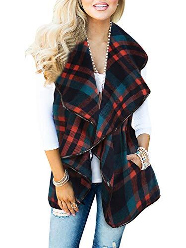 Mafulus Womens Vest Plaid Sleeveless Lapel Open Front Cardigan Sherpa Jacket with Pockets Teal and Orange