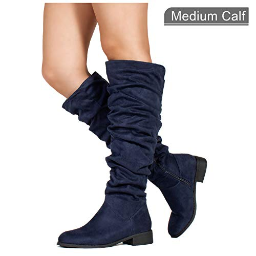 RF ROOM OF FASHION Women's Slouchy Pull On Low Block Heel Knee High Boots (Medium Calf) Navy SU (11)