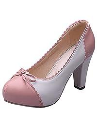 COOLCEPT Women Block High Heel Pumps Classic Ladies Sweet Dress Platform High Heel Shoes