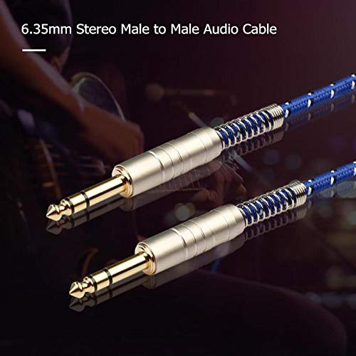 Blue-Ocean-11-1m/1.8m/3m/5m/10m 6.35mm Stereo Audio Cable Male to Male Aux Cable Zinc Alloy Audio Cable for Electric Guitar Mixer ()