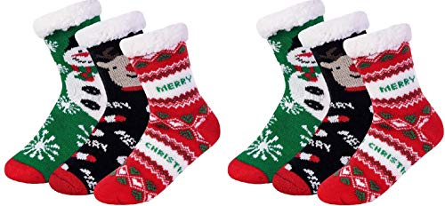 I&S 6 Pairs Crew Socks, Printed Fun Colorful Festive, Crew Knee Cozy Socks Women Fancy Christmas Holiday Design Soft (Christmas #6 Sherpa-Lined ()