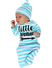 """2Pcs Newborn Pajamas Gown Outfits Set Letter Stripe Long Sleeve Gown+Headband/Hat Sleeping Swaddle Wrap By Makaor (Size:Bust:50cm/19.7"""" Length:65cm/25.6"""", Blue)"""