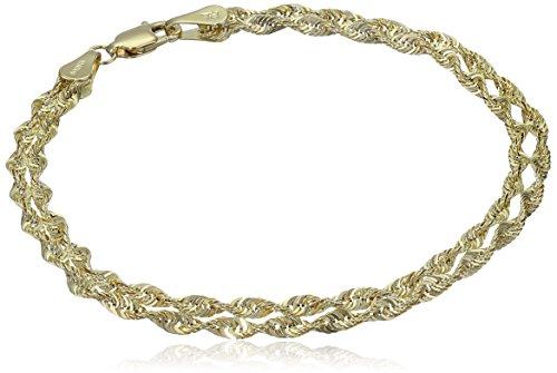 "14k Yellow Gold Double Twist Rope Bracelet, 7.5"""