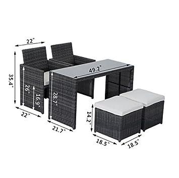 Outsunny 5-Piece Outdoor Rattan Wicker Patio Furniture Set – Gray Cream