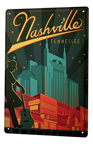 Tin Sign Deco City Nashville Tennessee Cowboy Guitar 8X12