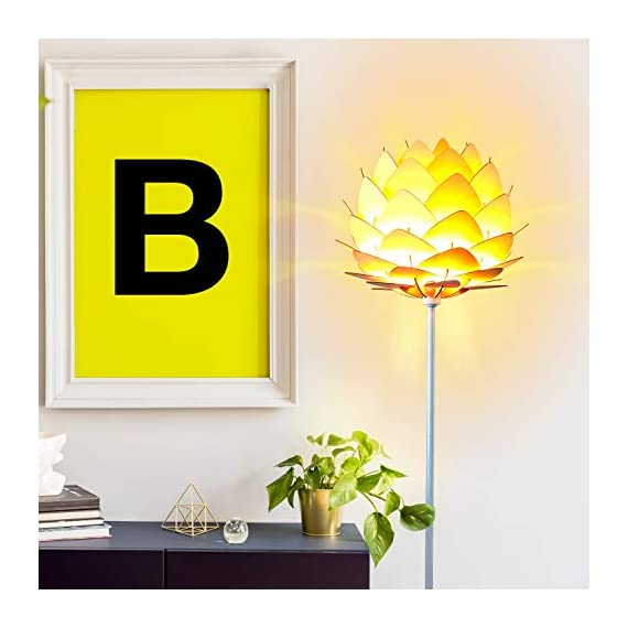 Brightech Artichoke LED Floor Lamp- Unique Contemporary Standing Light for Living Room, Bedrooms- Modern Multi-Panel Style Wooden Shade – Tall Pole Uplight Lamp - UPRIGHT LAMP FOR CONTEMPORARY DECOR: The Artichoke LED Floor Lamp has a stunning sculptural design that will upgrade your space in a unique and creative way. It pairs well with modern, mid-century, Scandinavian, and Asian style décor. The pole has a white finish, which helps provide a clean, sleek look and fits perfectly with the inviting tone of the warm white LED light the bulb emits. ALEXA & GOOGLE HOME COMPATIBLE WARM READING LIGHT FOR HOME OR OFFICE: Works with smart outlets that are Alexa, Google Home Assistant, or Apple HomeKit enabled, to turn on/off. (Requires smart outlet sold separately.) The Artichoke Lamp gives off warm, cozy light without producing a harsh glare and creates a comfortable space beside your book chair; it's a great alternative to unpleasant overhead lights. FITS EASILY NEXT TO A SIDE TABLE, BED, DESK, OR COUCH: This lamp is lightweight, weighs only 12.5 pounds, and reaches just over five and a half feet tall, so that it is easy to move around to where light is needed most in your room. Its slender design makes it easy to place near love seats, sofas, armchairs, side tables, and desks. The lamp has a weighted base that prevents tipping, and the convenient to use on/off pedal switch allows you to easily tap the lamp on or off with your foot. - living-room-decor, living-room, floor-lamps - 41ddO f%2BTtL. SS570  -