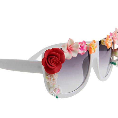 Sol Mujeres Sol Shape Protection de Square Gafas de de Beach Driving Ligero Ultra Style de a Las la Hechas Vacation UV de señora Mano Gafas la Flor Summer qAtnRpzB
