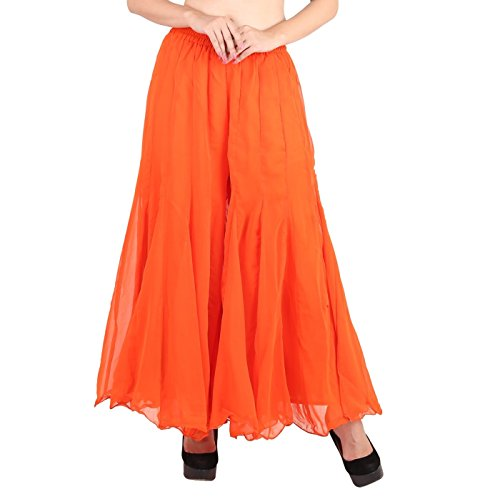 Shararat Women's Palazzo Pants Georgette Loose Plain Flared High Waist Sharara (Orange)