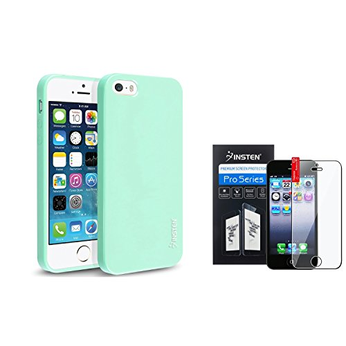 iPhone SE Case+Screen Protector, Insten Mint Green Jelly TPU Rubber Skin Case with FREE Reusable Clear Screen Cover Compatible With Apple iPhone 5 / 5s / 5SE