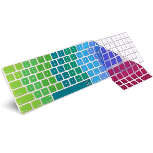 Keyboard Cover Compatible 2017 2018 New Apple Magic Keyboard with Numeric Keypad US Layout MQ052LL/A and A1843-Rainbow