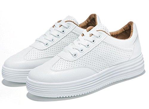 Zapatos Pequeño Grueso Aumentado 39 Movimiento XIE BROWN Blanco Colores Zapatos Verano 36 Cuero White Señora De Ocio Dos Estudiantes Punzonado Fondo 5xRYzOYn