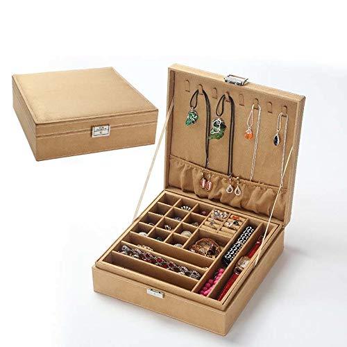 Wooden Multilayer Flannelette Jewelry Box Large Capacity Women Earrings Necklace Bracelet Casket for Decoration Kul-Kul