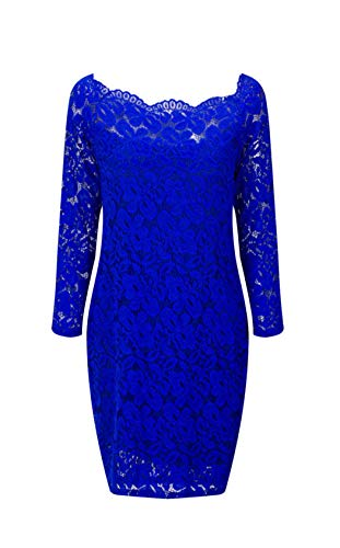 LITTLEPIG Women\'s Off Shoulder Elegant Lace Hollow Dress Long Sleeve Bodycon Cocktail Party Wedding Dresses