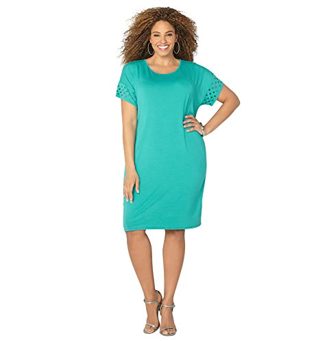 AVENUE Women's Eyelet Sleeve T-Shirt Dress, 14/16 Turquoise