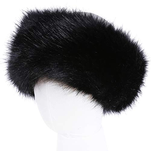 Faux Fur Headband with Elastic for Women's Winter Earwarmer Earmuff(one size,Black) by soul young