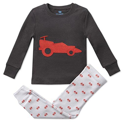 Bluenido Boys Pajamas Race CAR 2 Piece 100% Super Soft Cotton 2Y Gray/Red -
