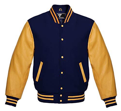 Premium Letterman Baseball School College Bomber Varsity Jacket Navy Blue & Gold Genuine Leather Sleeves (Navy Blue/Gold, Large)