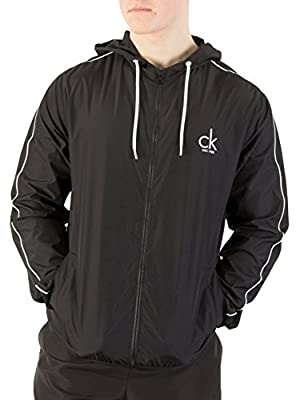 Calvin Klein Men's Beach Windbreaker Zip Jacket, Black