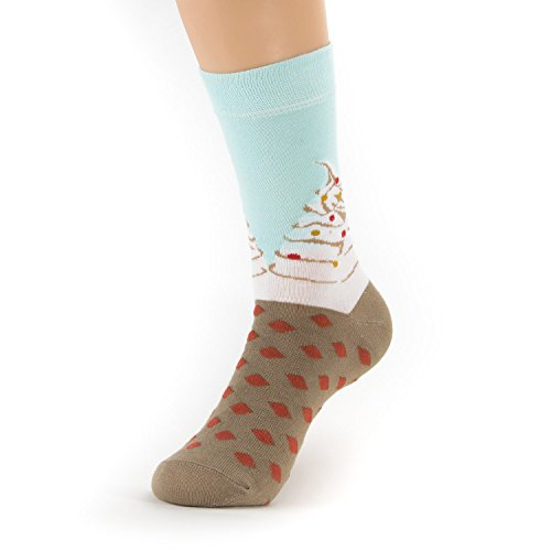 Natural Underwear Womens Socks Ice Cream Design Foodie Funny Casual Daily Medium Bamboo Crew Socks Comfort Luxury Healthy Socks