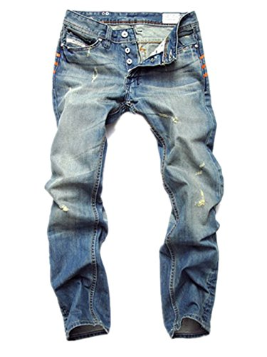 (FEESON Men's Straight Leg Slimming Fit Distressed Loose Denim Jeans Button Blue W36)