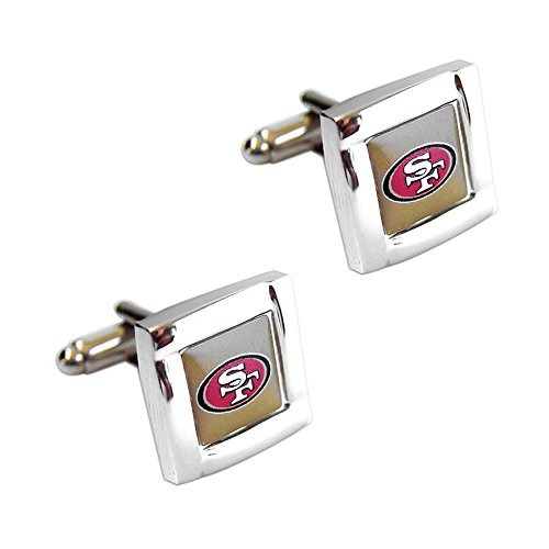 NFL San Francisco 49ers Square Cufflinks with Square Shape Logo Design Gift Box Set