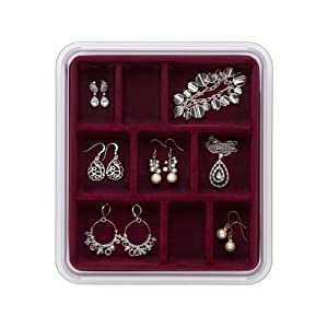 Neatnix Stax Jewelry Organizer Tray, 9 Compartments, Burgundy