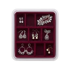 Neatnix Stax Jewelry Organizer Tray, 9 Compartments, Burgundy