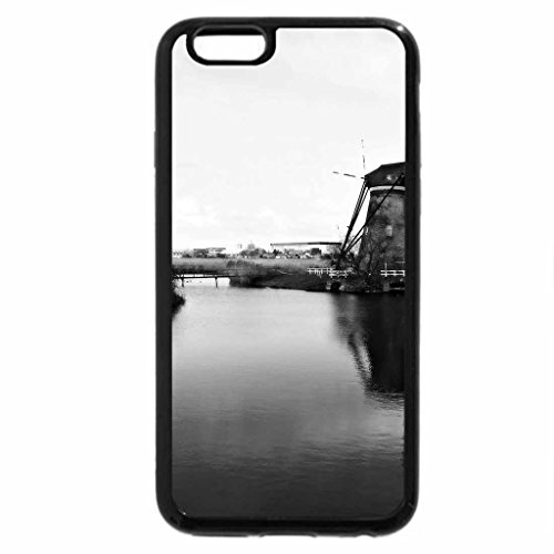 iPhone 6S Plus Case, iPhone 6 Plus Case (Black & White) - dutch windmills at the fork in the river