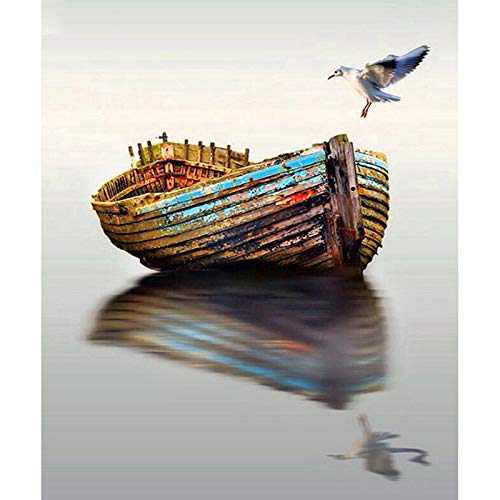 Diy Oil Painting, Paint By Number Kits -Bird And Boat,16X20 Inch