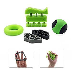 GR Hand Grip Strengthener Forearm Grip Finger Exercise Set - Finger Stretcher and Hand Grip Strengthener - Hand Strength Trainer for Rehabilitation, General Fitness & All Musicians & Sportspeople (Green)