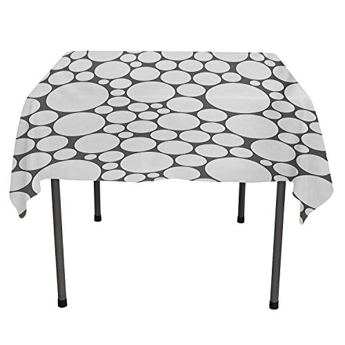 All of better Geometric Circle Clear Tablecloth Retro Pattern with Large Small Round Dots Abstract Art Print Image Dark Grey White Spill-Proof Tablecloth Spring/Summer/Party/Picnic 60 by 84