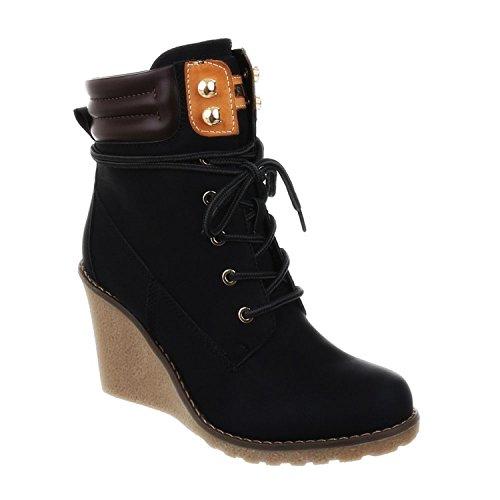 King Of Shoes Bequeme Damen Stiefeletten Keilabsatz Wedges Ankle Boots Kurzschaft Schnürstiefel 173 Schwarz 122