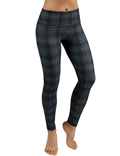 ODODOS Power Flex Printed Yoga Pants Tummy Control Workout Non See-Through Leggings with Pocket,LinearTribal,Large