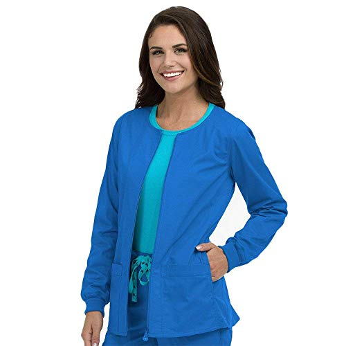 Med Couture Signature Women's Zip Front Warm Up Scrub Jacket, Royal, X-Large