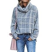 KIRUNDO 2021 Winter Women's Turtleneck Knit Sweater Long Sleeves Pullover Plaid Side Split Checke...