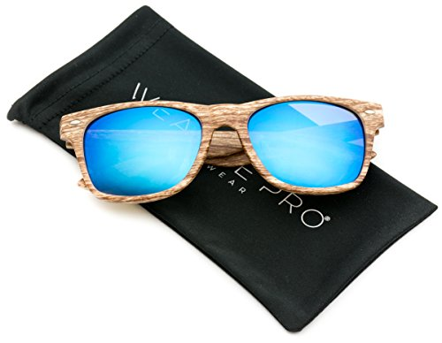 Faux Wood Reflective Revo Color Lens Horn Rimmed Style Sunglasses,Light Wood Print / Mirror - Sunglasses Guy